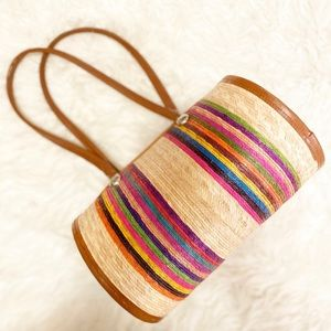 Handbags - Striped Rounded Straw Purse